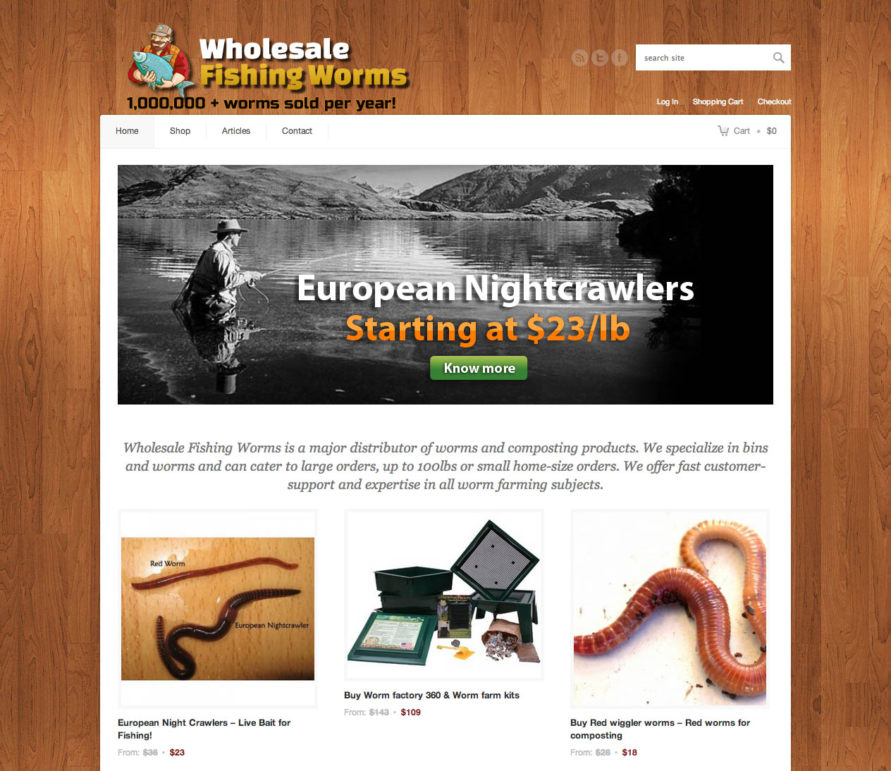 Whole sale fishing worms